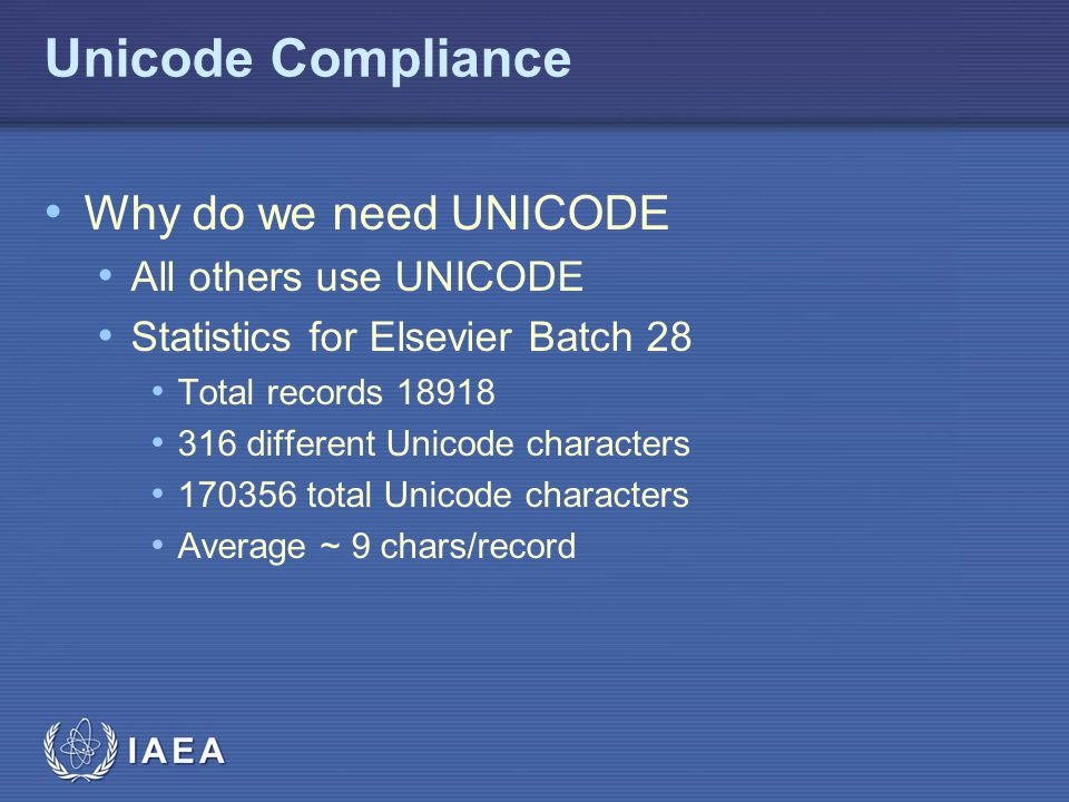 Unicode Compliance Why do we need UNICODE All others use UNICODE