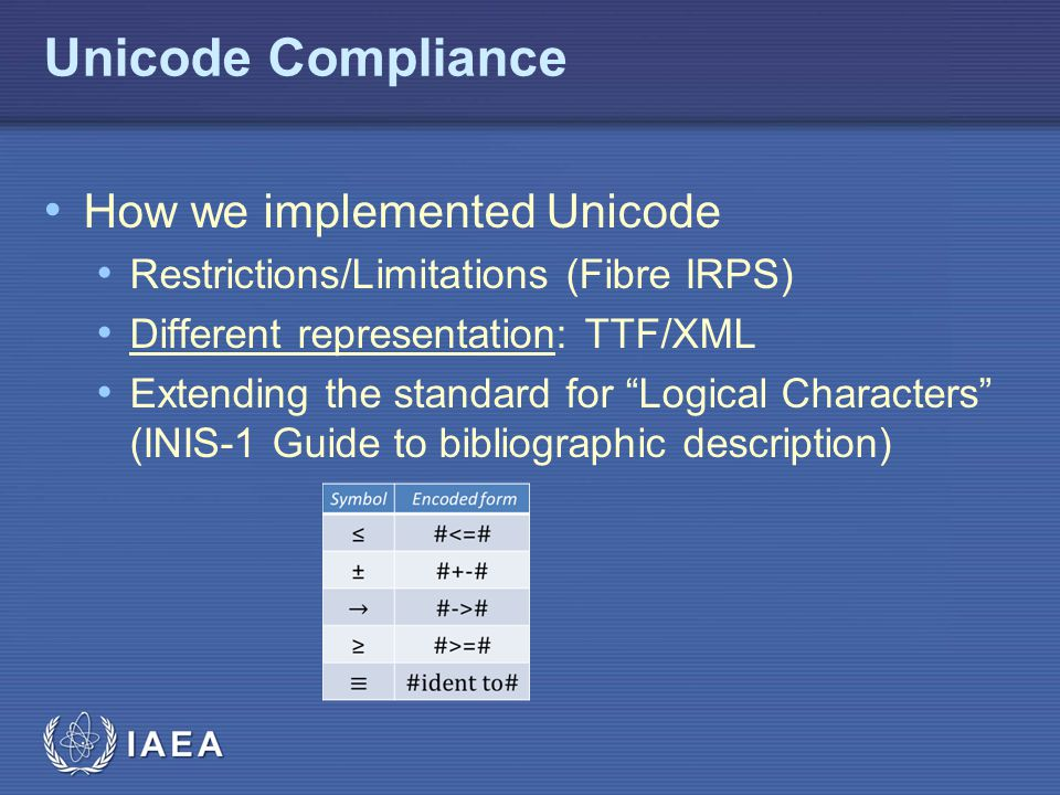 Unicode Compliance How we implemented Unicode