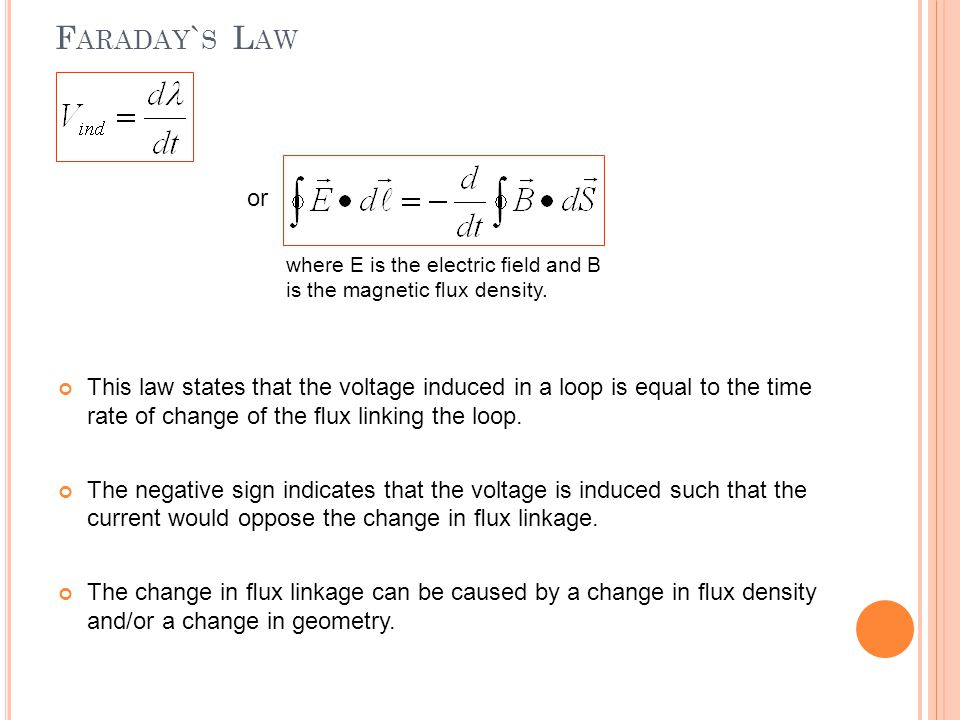 Faraday`s Law or. where E is the electric field and B is the magnetic flux density.