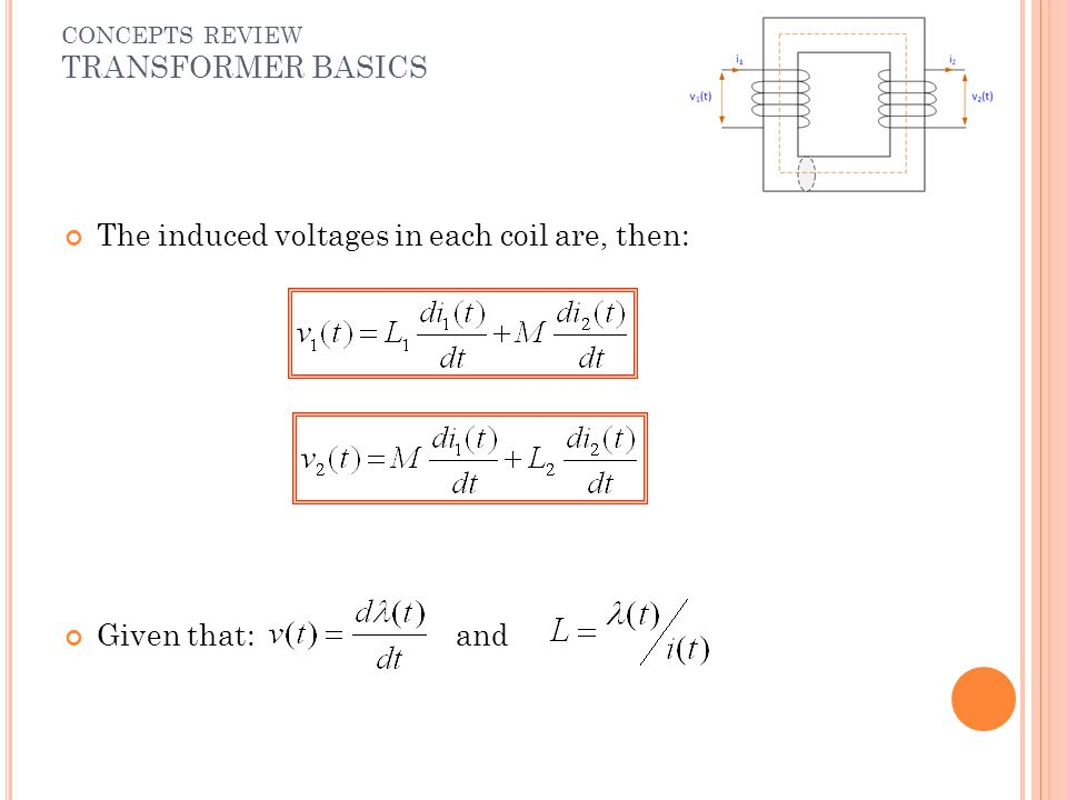 The induced voltages in each coil are, then: