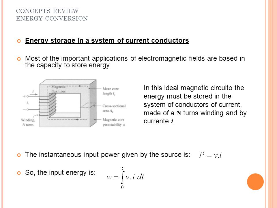 Energy storage in a system of current conductors