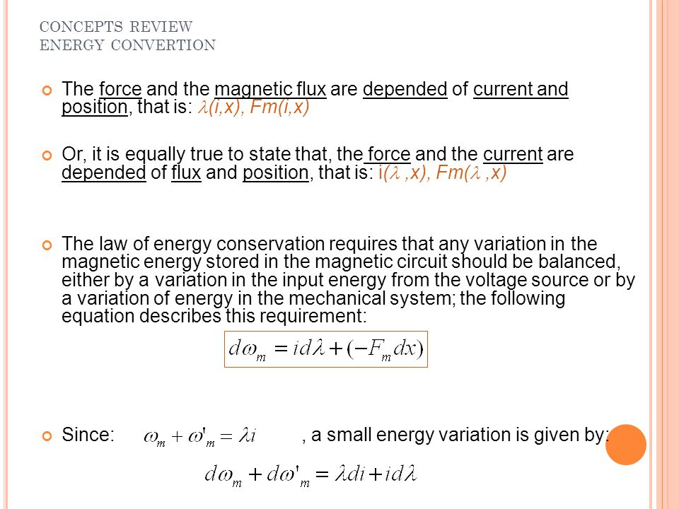 Since: , a small energy variation is given by: