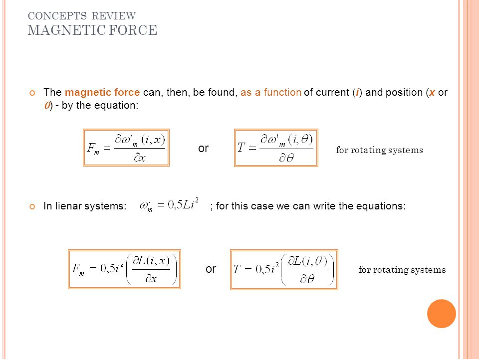 or or CONCEPTS REVIEW MAGNETIC FORCE