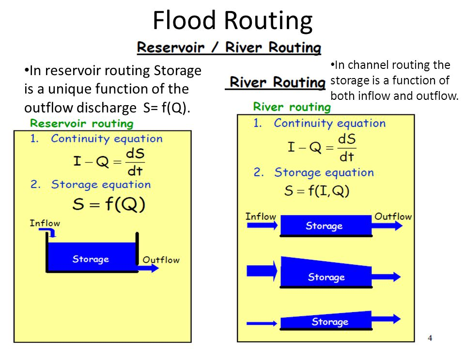 Flood Routing In channel routing the storage is a function of both inflow and outflow.