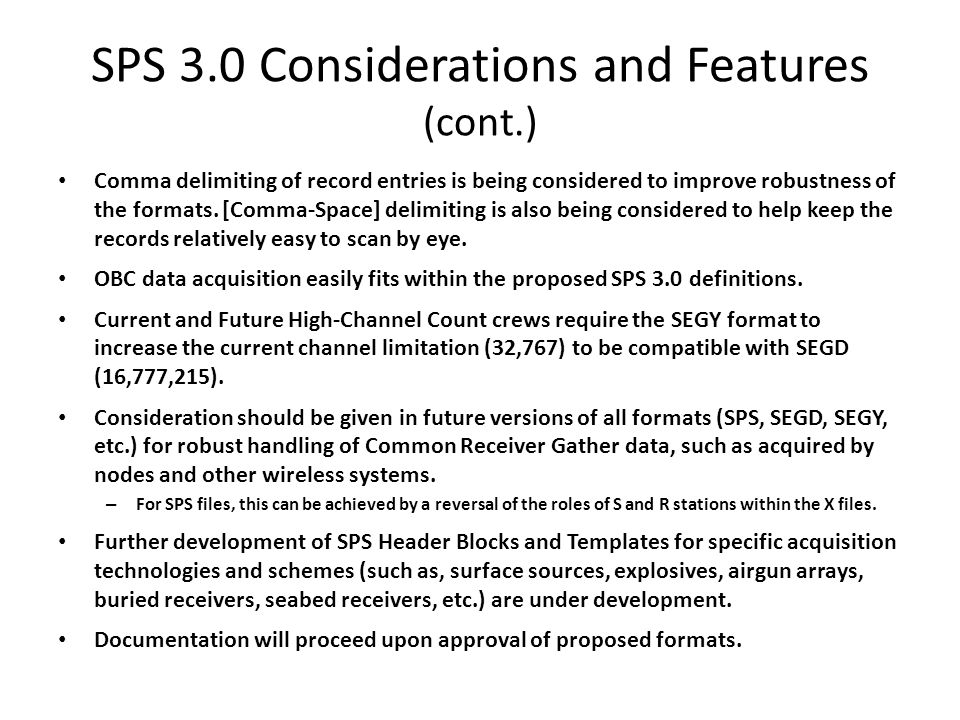 SPS 3.0 Considerations and Features (cont.)