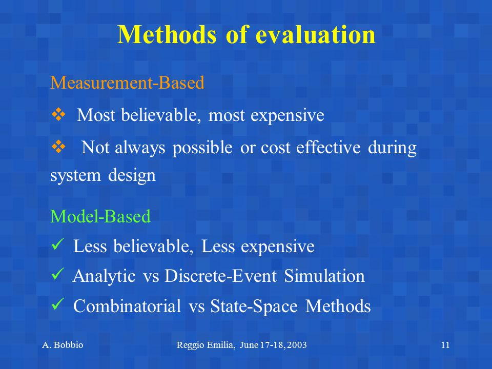 Methods of evaluation Measurement-Based