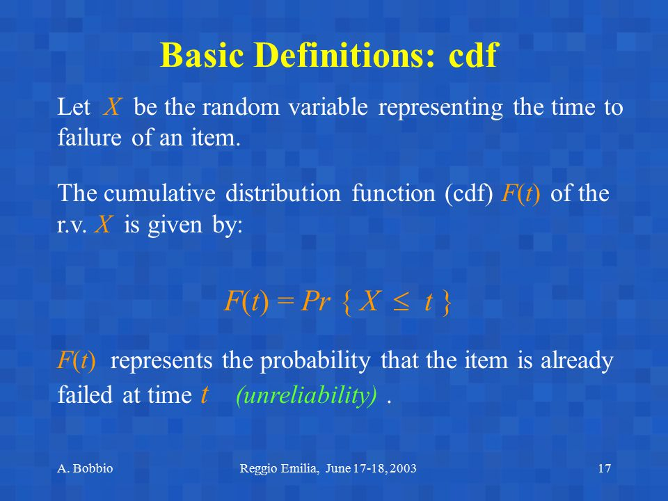 Basic Definitions: cdf