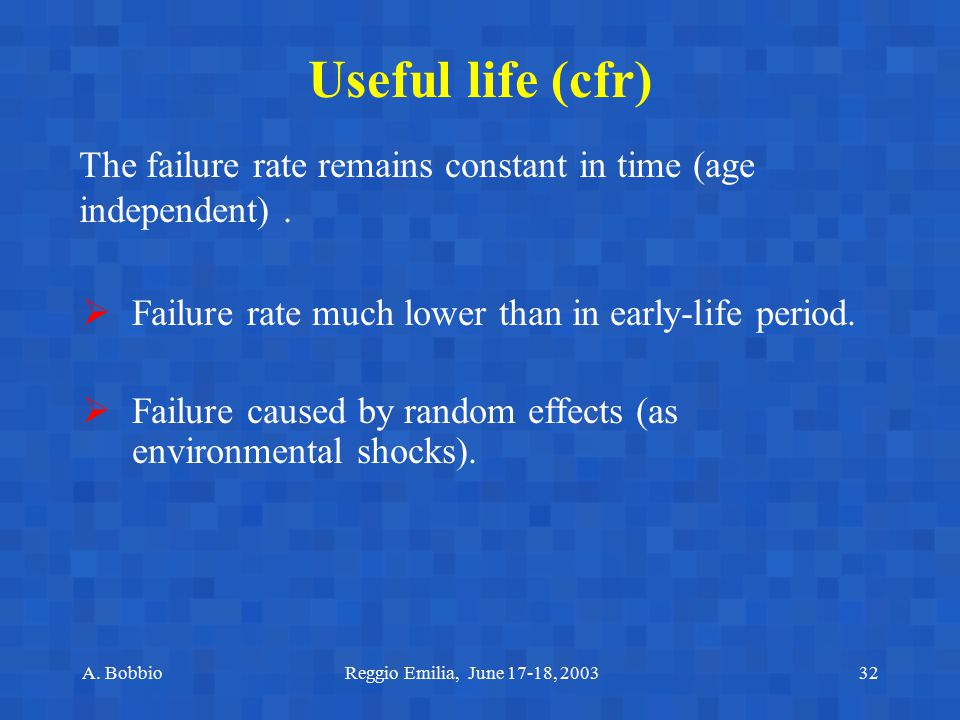 Useful life (cfr) The failure rate remains constant in time (age independent) . Failure rate much lower than in early-life period.