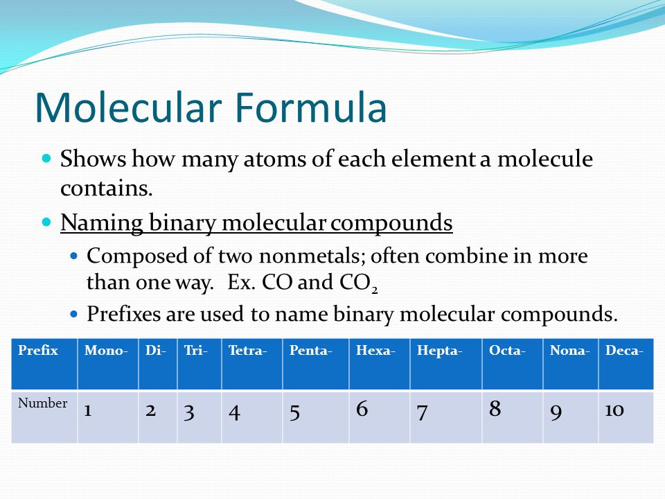 Molecular Formula Shows how many atoms of each element a molecule contains. Naming binary molecular compounds.