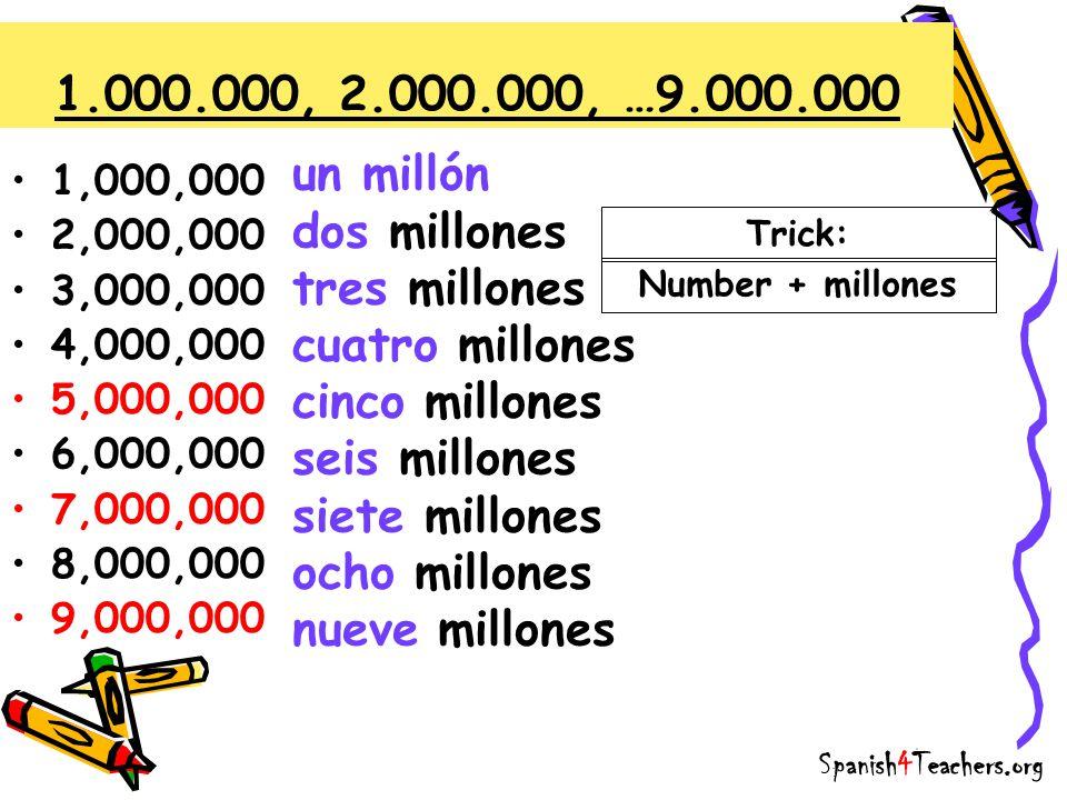 1.000.000, 2.000.000, …9.000.000 un millón dos millones tres millones