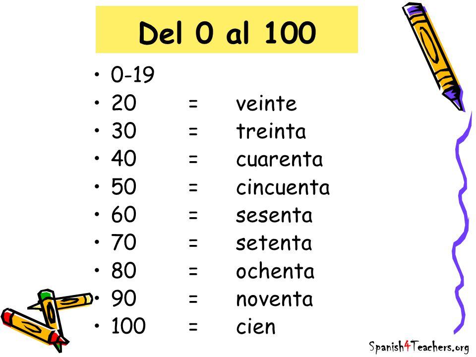 Del 0 al 100 0-19 20 = veinte 30 = treinta 40 = cuarenta
