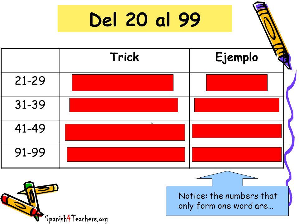 Del 20 al 99 Trick Ejemplo 21-29 veinti + número veintidos 31-39