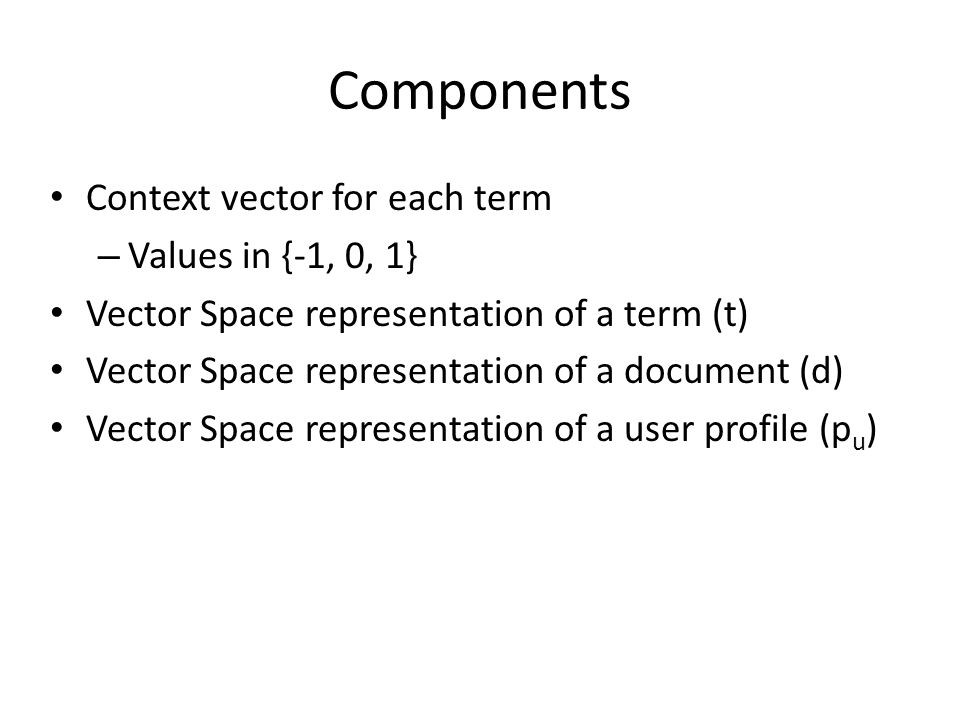 Components Context vector for each term Values in {-1, 0, 1}