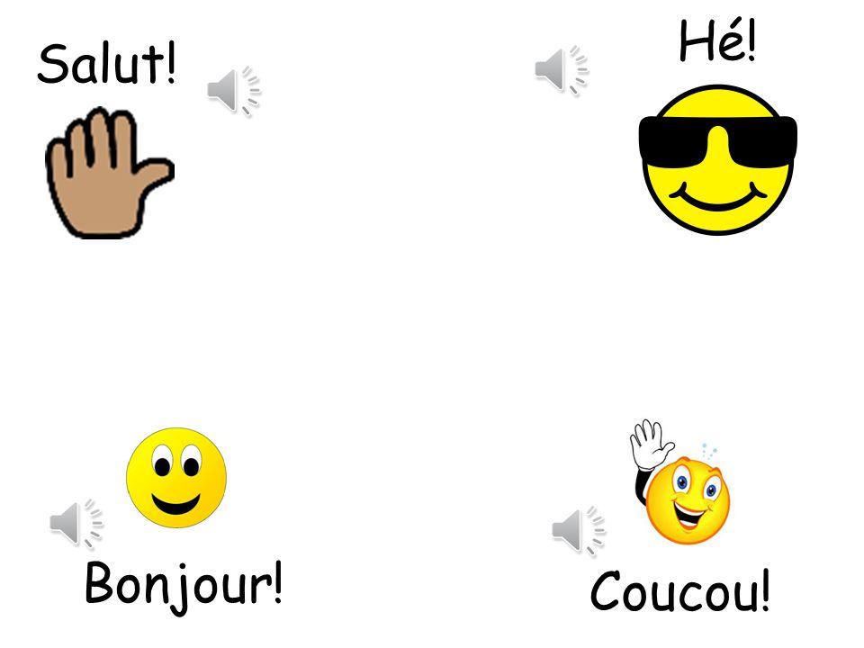 Hé! Salut! Coucou means hi there! Hé means Hey Bonjour! Coucou!