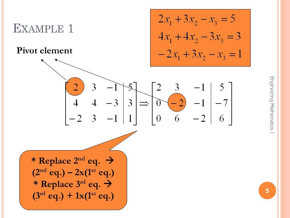 Example 1 Pivot element * Replace 2nd eq.  (2nd eq.) – 2x(1st eq.)