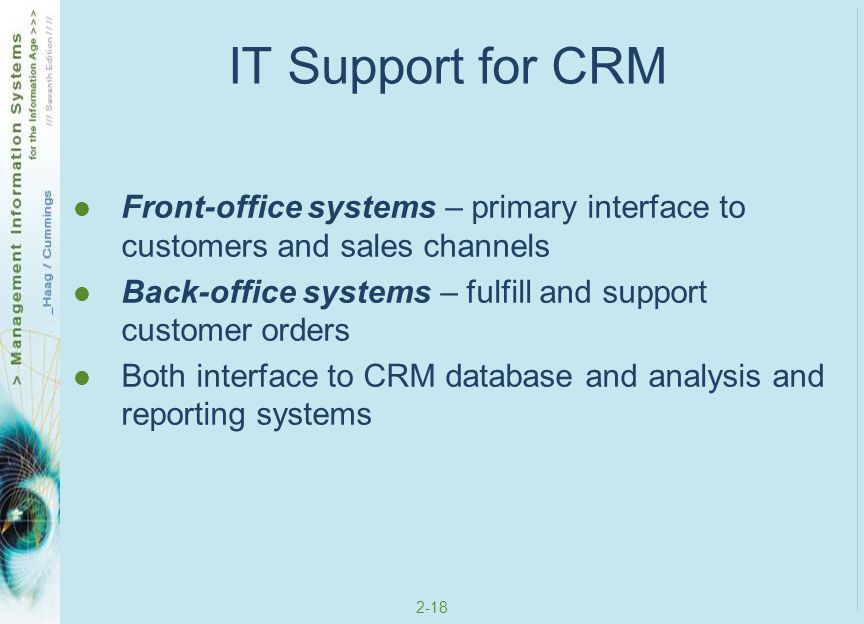 IT Support for CRM Front-office systems – primary interface to customers and sales channels.