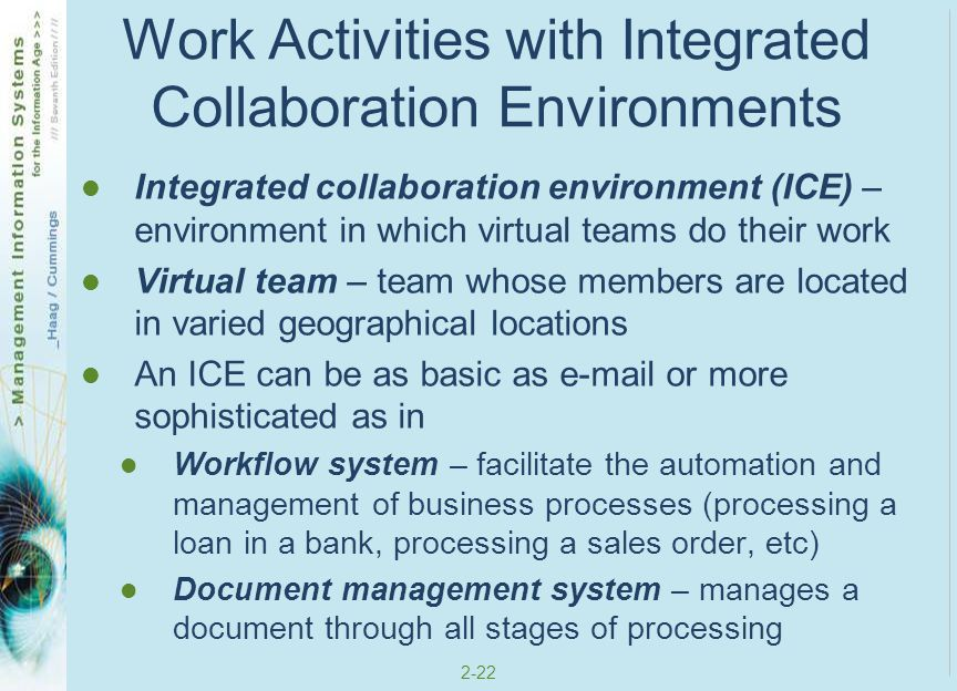 Work Activities with Integrated Collaboration Environments