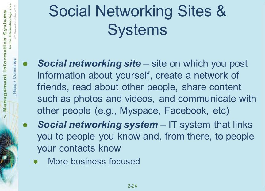 Social Networking Sites & Systems