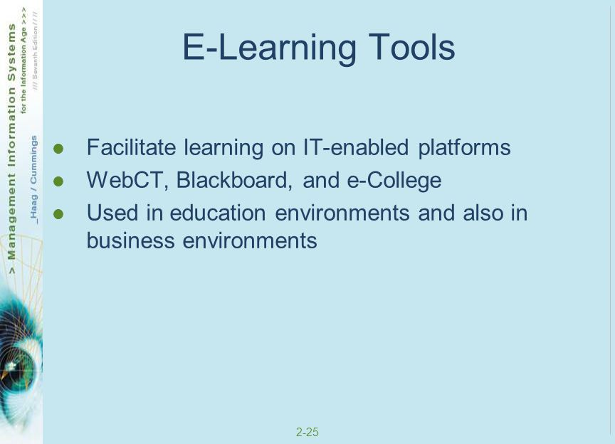E-Learning Tools Facilitate learning on IT-enabled platforms