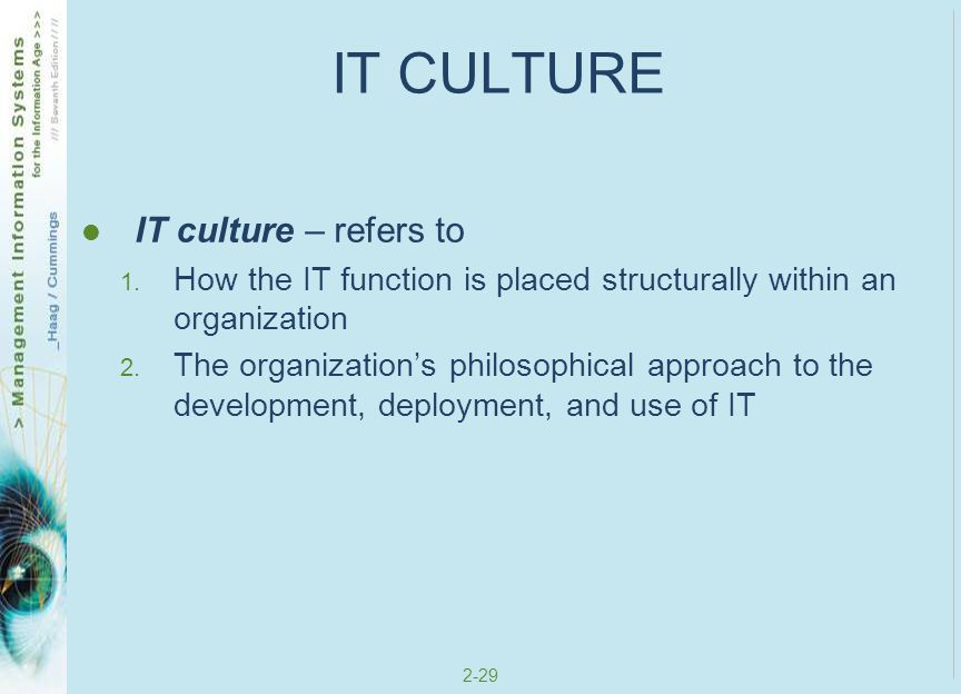 IT CULTURE IT culture – refers to