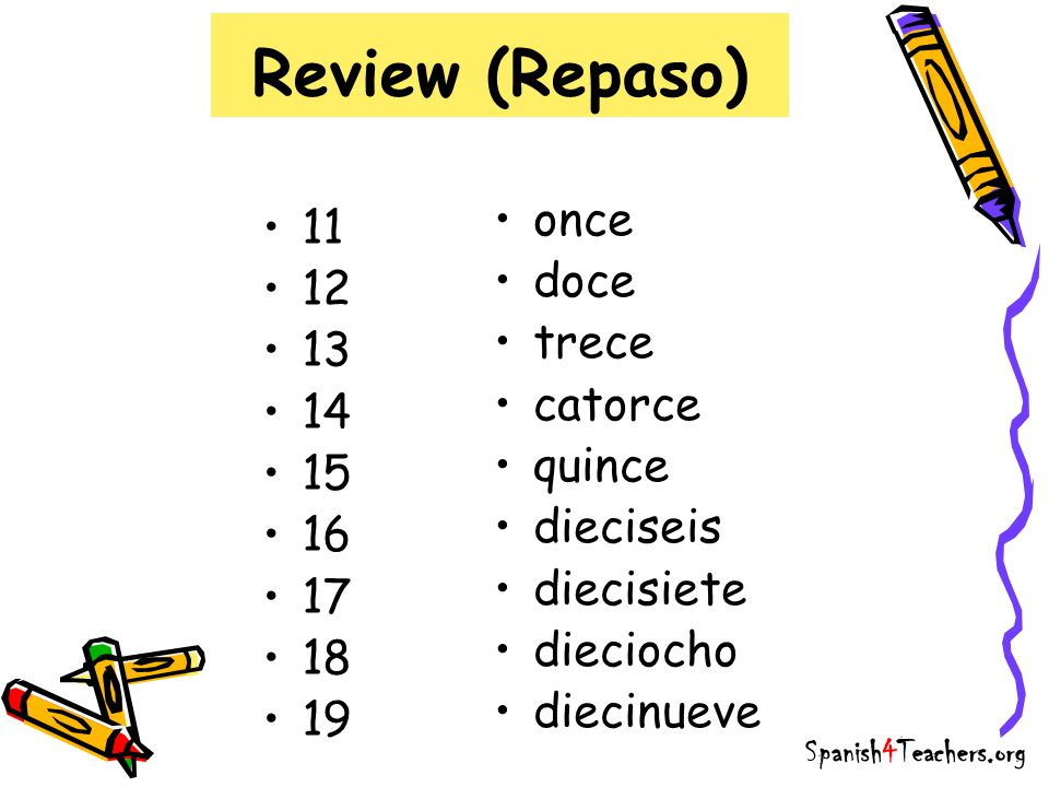 Review (Repaso) once 11 doce 12 trece 13 catorce 14 quince 15