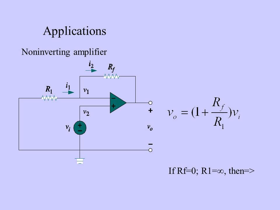 Applications Noninverting amplifier If Rf=0; R1=, then=>