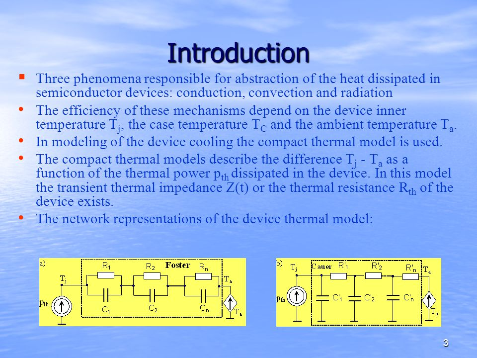 Introduction Three phenomena responsible for abstraction of the heat dissipated in semiconductor devices: conduction, convection and radiation.