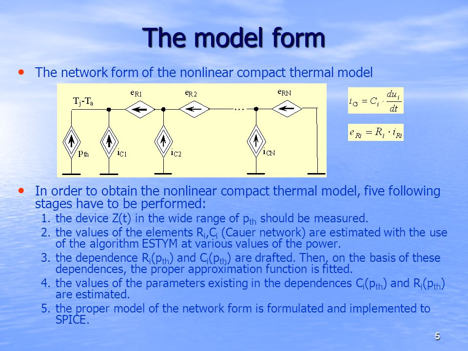The model form The network form of the nonlinear compact thermal model
