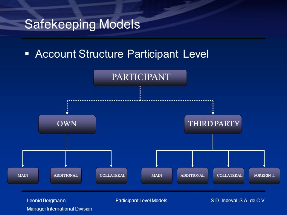 Safekeeping Models Account Structure Participant Level PARTICIPANT OWN
