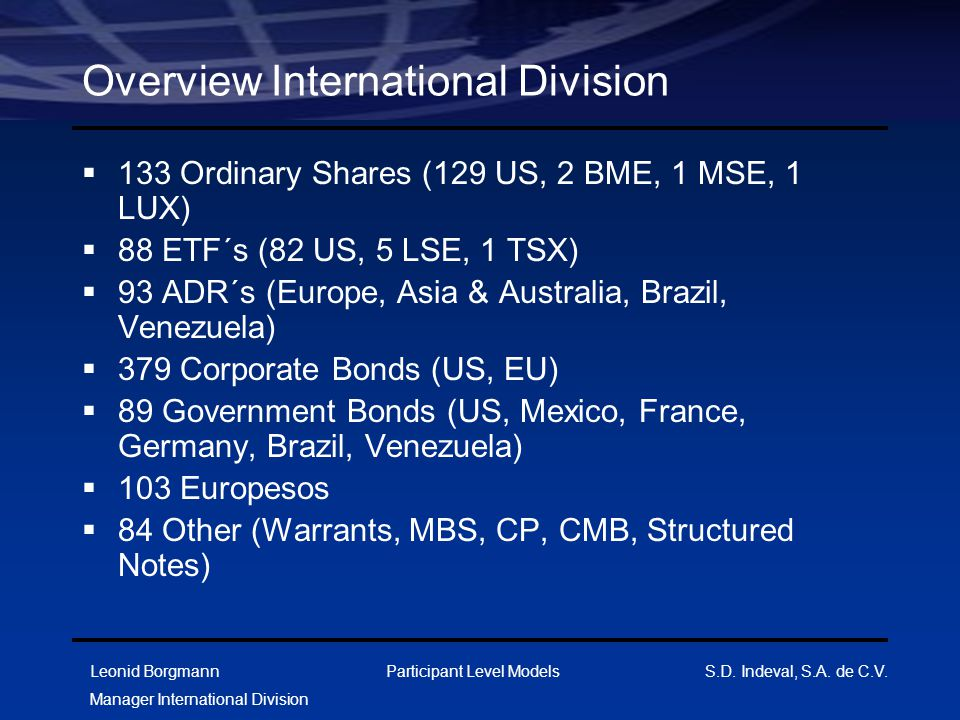 Overview International Division