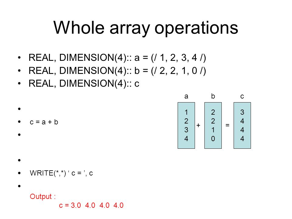 Whole array operations