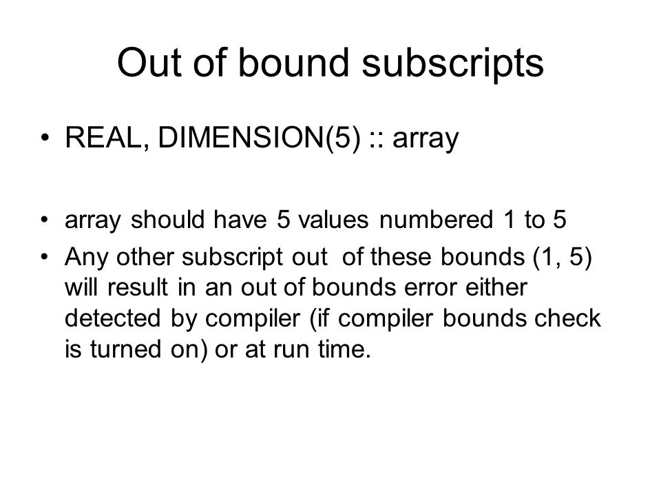 Out of bound subscripts