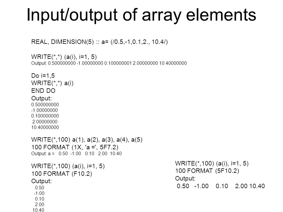 Input/output of array elements