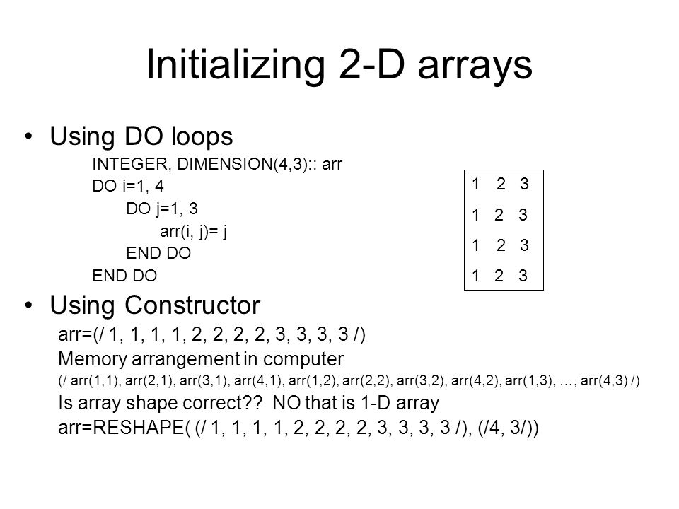 Initializing 2-D arrays
