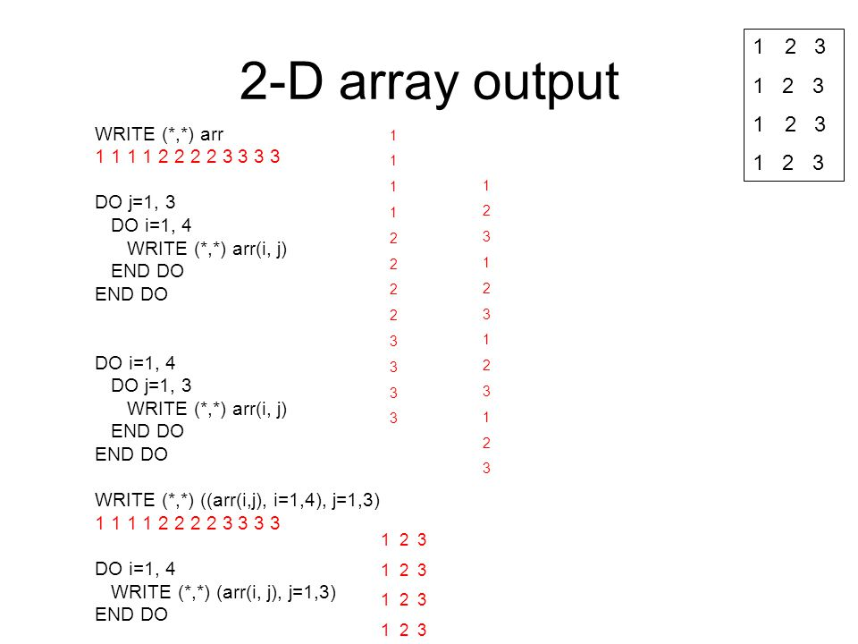 2-D array output 2 3 1 2 3 WRITE (*,*) arr 1 1 1 1 2 2 2 2 3 3 3 3