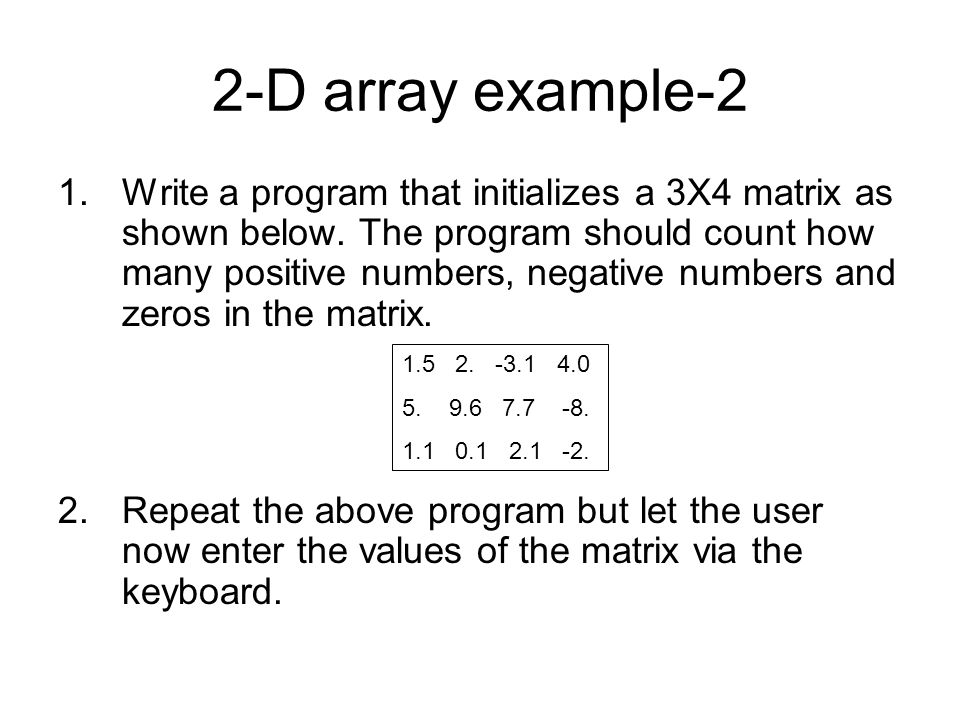 2-D array example-2