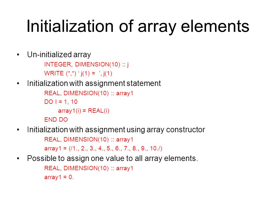 Initialization of array elements