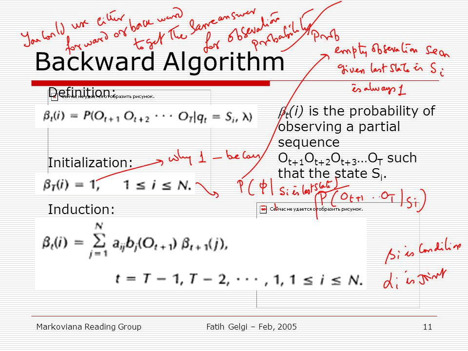Backward Algorithm Definition: