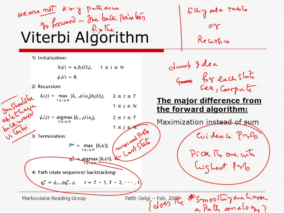 Viterbi Algorithm The major difference from the forward algorithm: