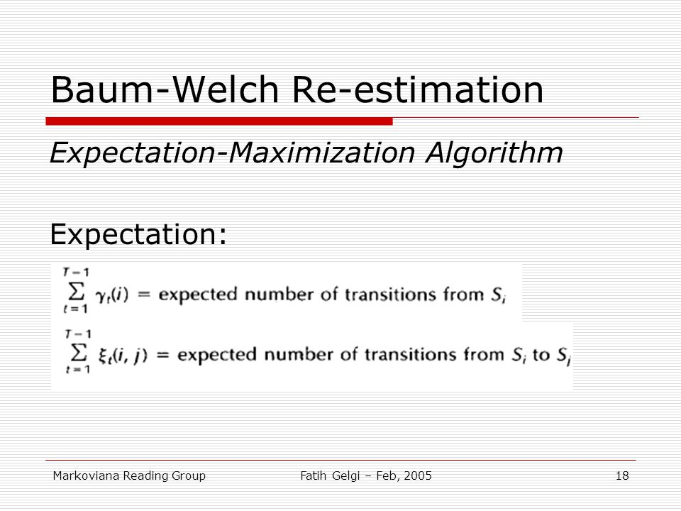 Baum-Welch Re-estimation