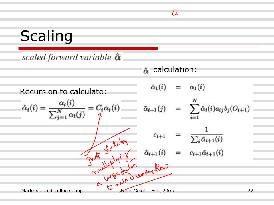 Scaling calculation: Recursion to calculate: Markoviana Reading Group