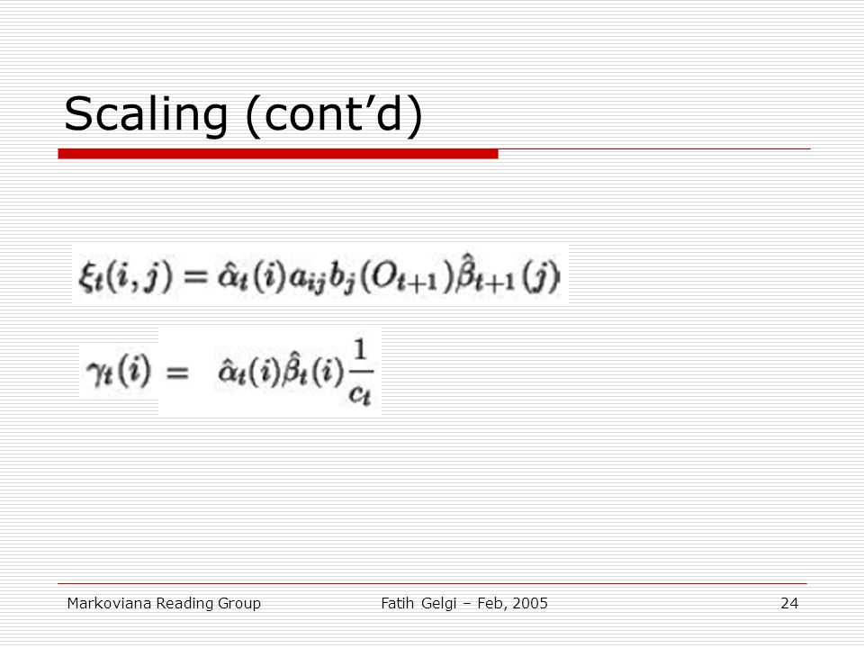 Scaling (cont'd) Markoviana Reading Group Fatih Gelgi – Feb, 2005