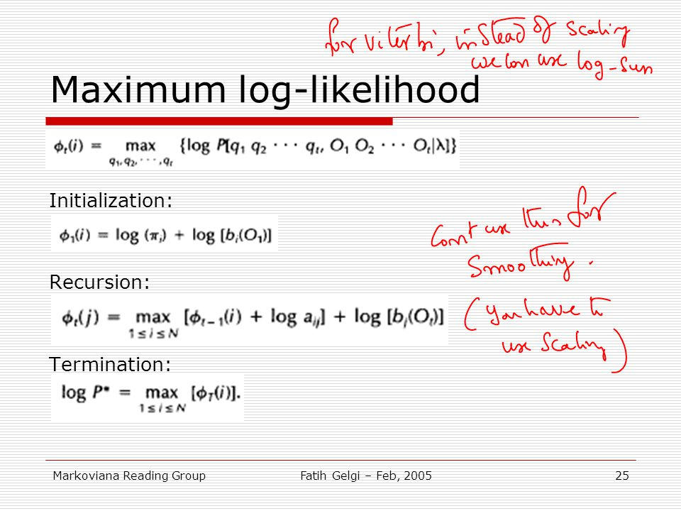 Maximum log-likelihood