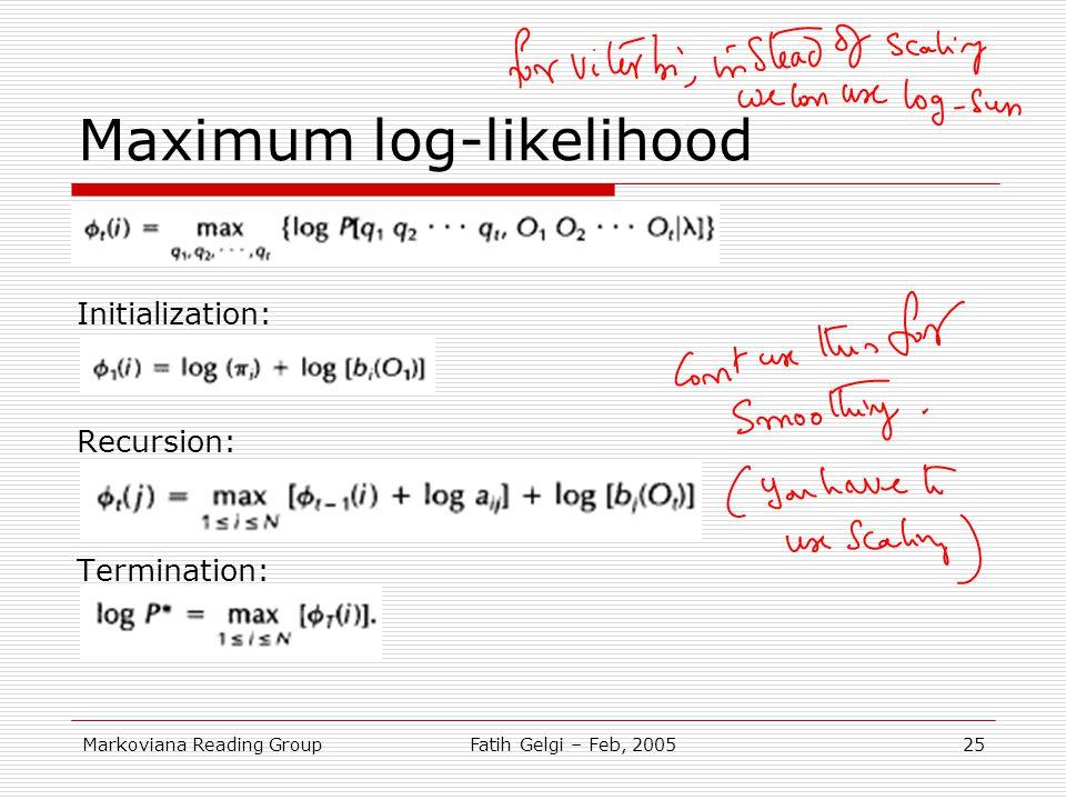 Maximum log-likelihood