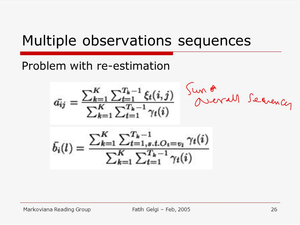 Multiple observations sequences