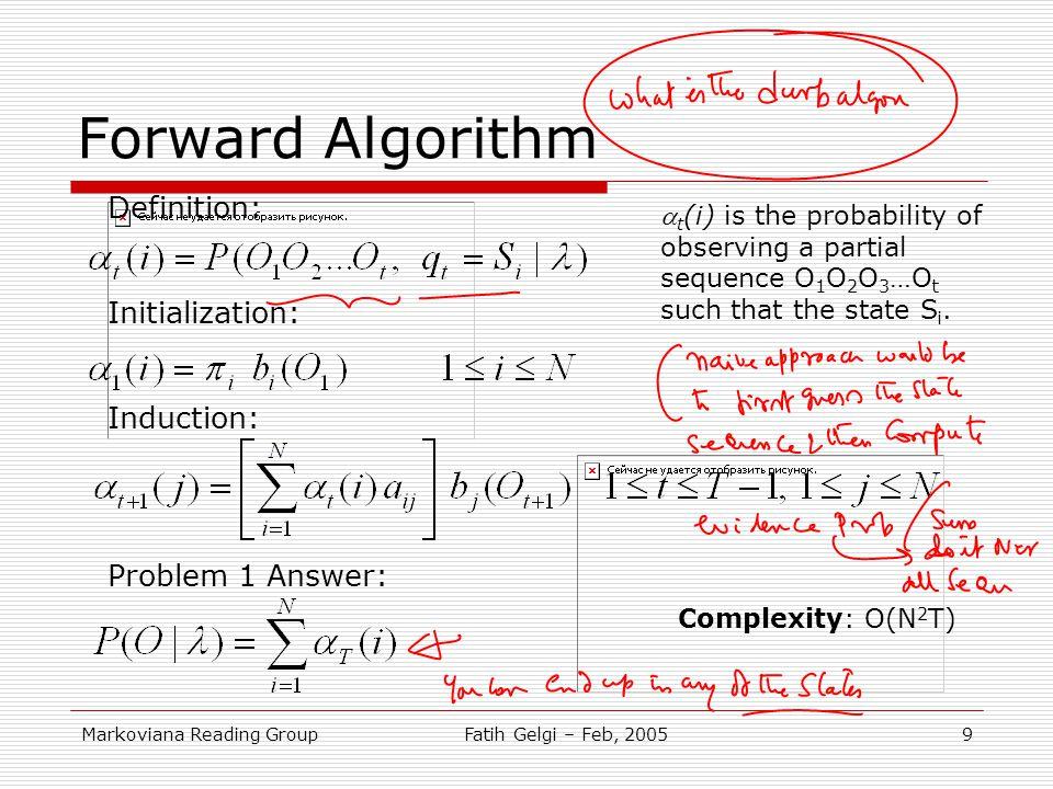 Forward Algorithm Definition: Initialization: Induction: