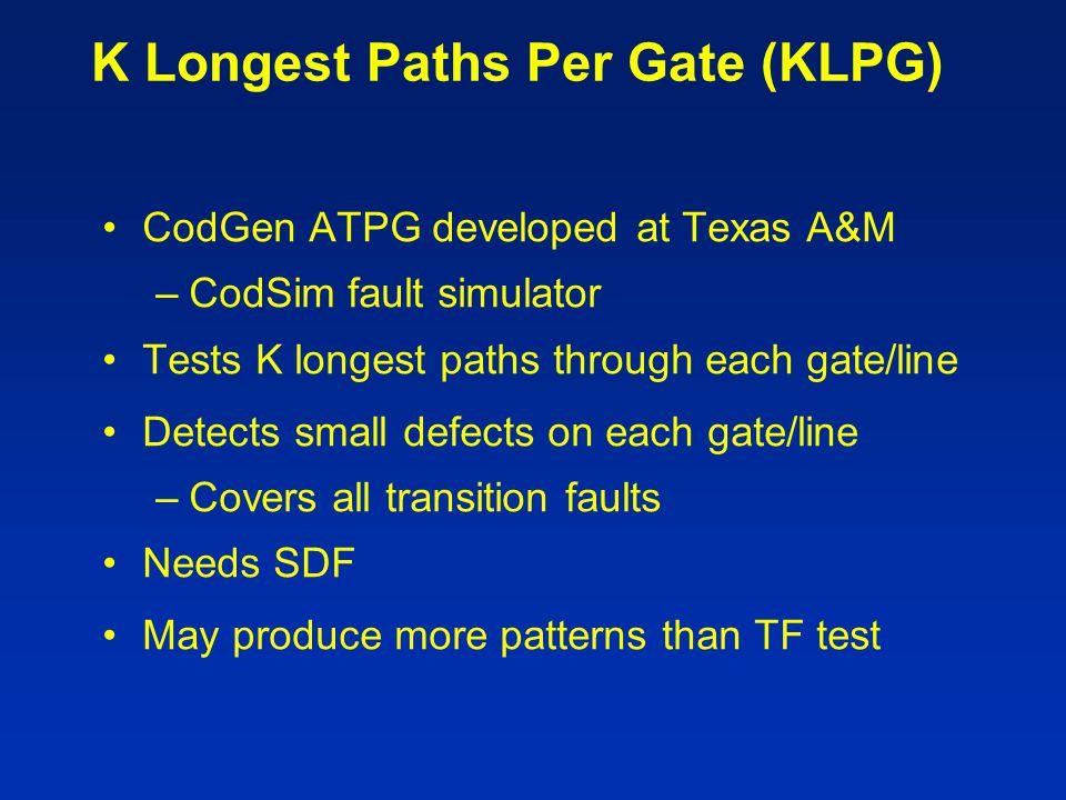 K Longest Paths Per Gate (KLPG)