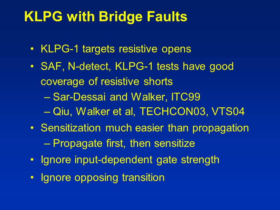 KLPG with Bridge Faults