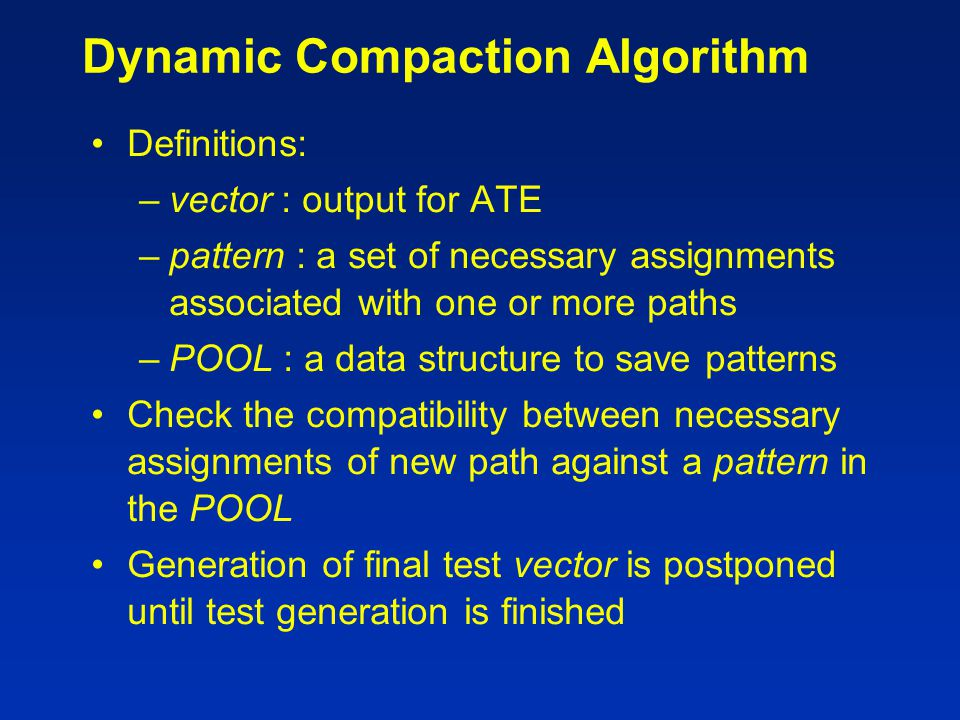 Dynamic Compaction Algorithm