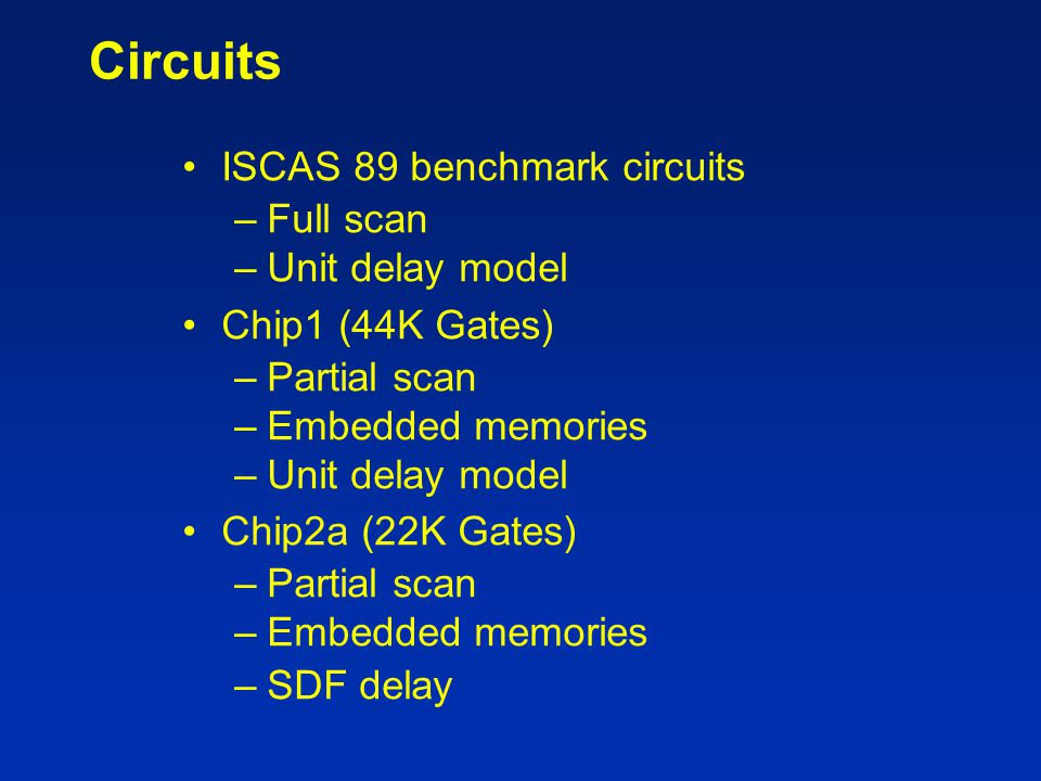 Circuits ISCAS 89 benchmark circuits Full scan Unit delay model